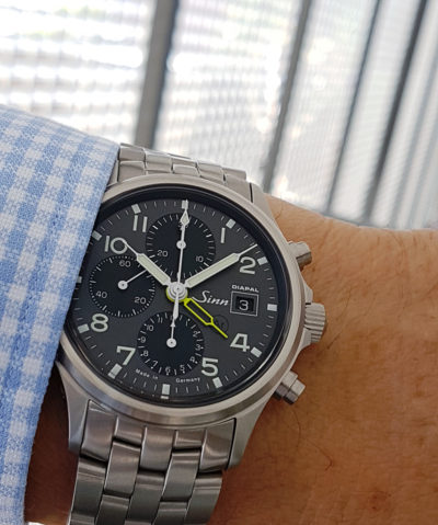 Sinn_358_UTC_Diapal_yellow_wrist1