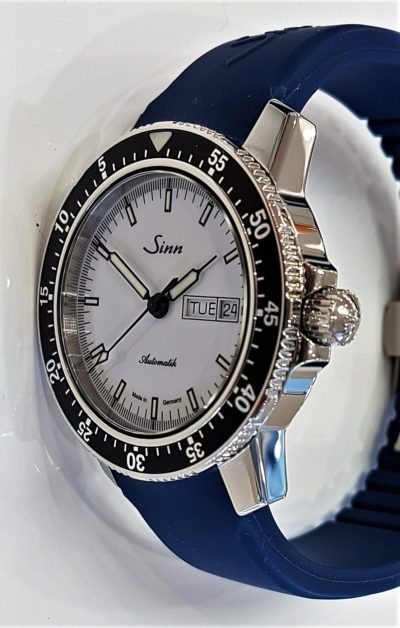 Sinn 104 St Sa I W on blue silicon strap