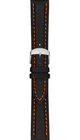 Sinn cow hide strap, black, white stitching, 20mm