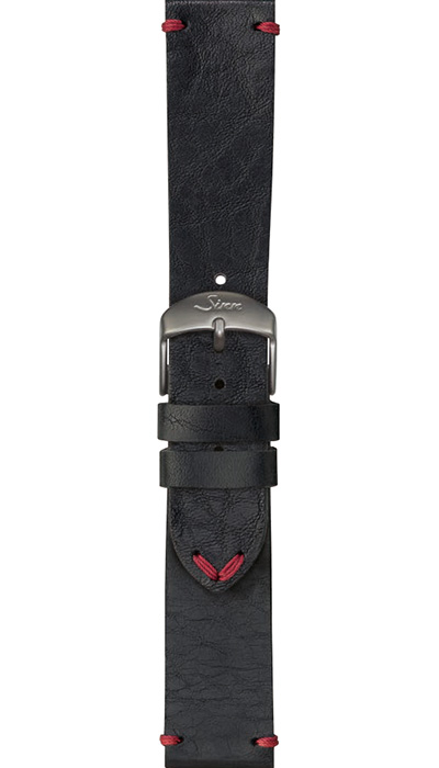 Sinn cow hide strap, vintage look, black, 22mm