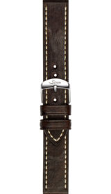 Sinn cow hide strap, vintage look, dark brown, white stitching, 20mm