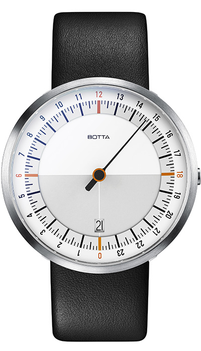 Botta_UNO_24_Quartz_White_Orange_Leather