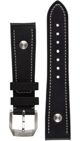 Hanhart calfskin leather band, black, 20mm