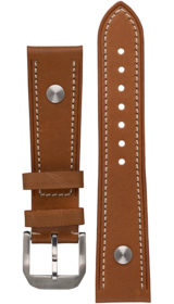 Hanhart calfskin leather band, light brown, 20mm
