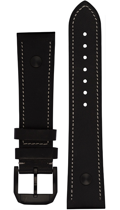 "Hanhart calfskin leather band, ""stealth"" black, 23mm"