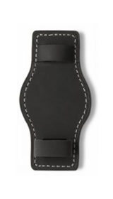 Hanhart calfskin leather lower strap, removable, black, 20mm