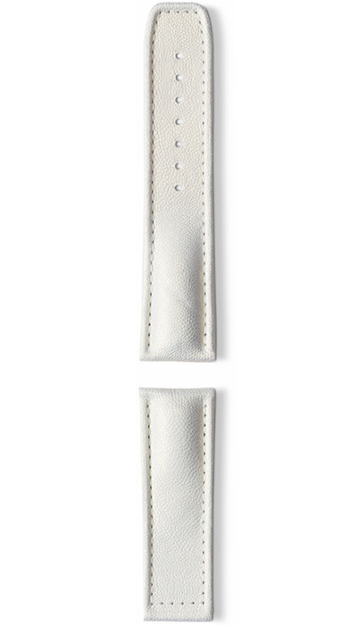 Hanhart calfskin leather band, white, 24mm
