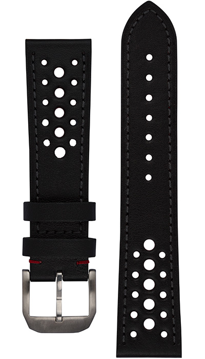 Hanhart calfskin leather band, Racing Design, black, 23mm