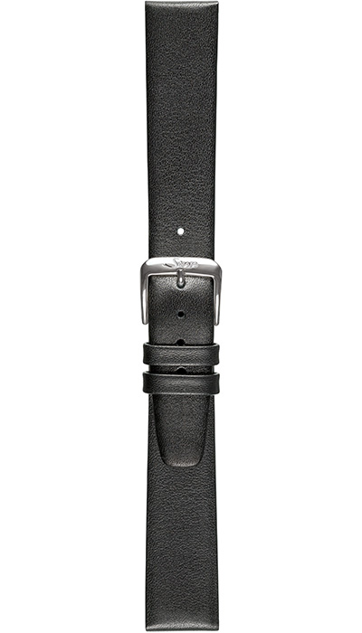 Sinn calf leather strap, silver-black, 19mm