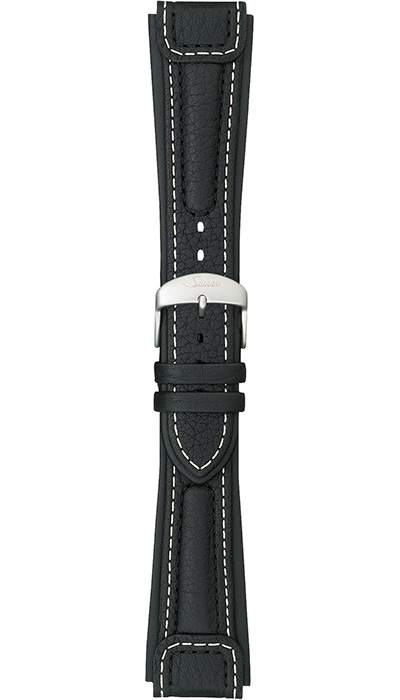 "Sinn ""Chronissimo"" cow hide band, black, white stitching, case integration, 20mm"