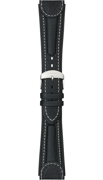 "Sinn ""Chronissimo"" cow hide band, black, white stitching, case integration, 24mm"