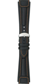 "Sinn ""Chronissimo"" cow hide band, black, orange stitching, case integration, 22mm"
