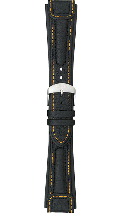 "Sinn ""Chronissimo"" cow hide band, black, yellow stitching, case integration, 22mm"
