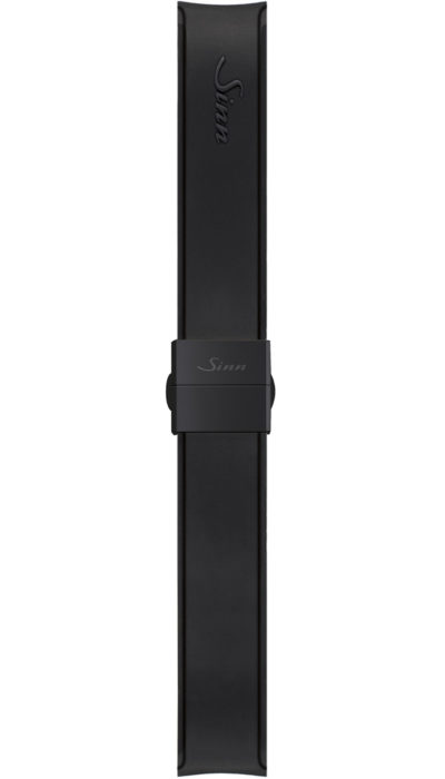 Sinn Silicone strap, black, Tegimented® black steel butterfly clasp, 20mm