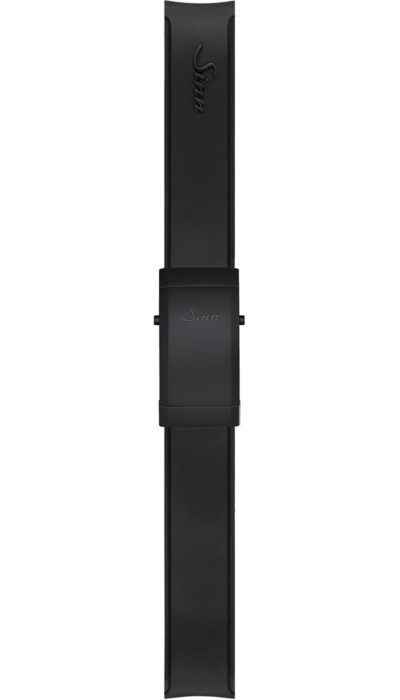 Sinn Silicone strap, black, Tegimented® black steel deployment clasp, 20mm