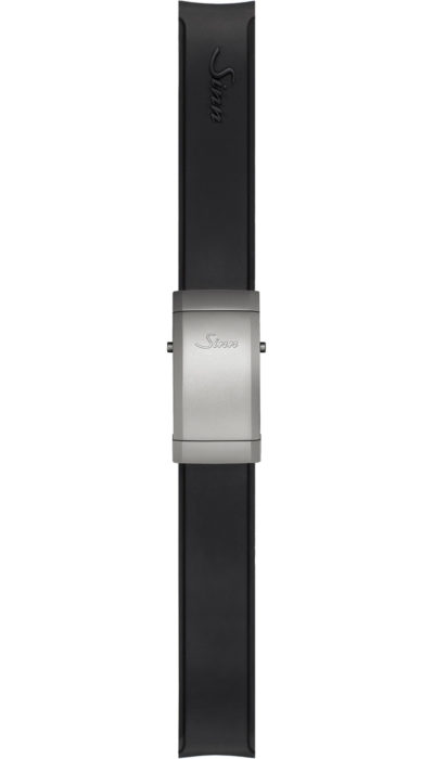 Sinn Silicone strap, black, steel deployment clasp, 18mm