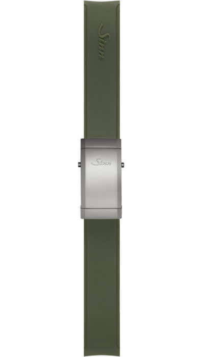 Sinn Silicone strap, green, steel deployment clasp, 22mm
