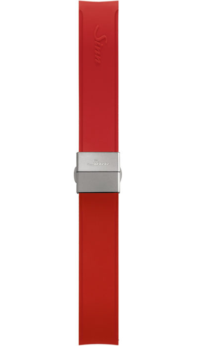 Sinn Silicone strap, red, steel butterfly clasp, 18mm