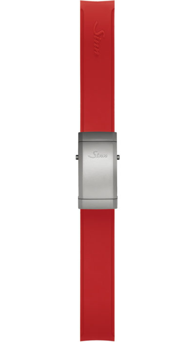 Sinn Silicone strap, red, steel deployment clasp, 18mm