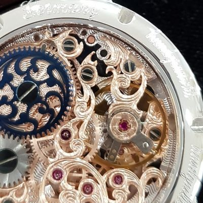 3/4 Guilloche Skeleton Floral Small