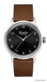 Black dial, steel case, brown nappa leather band