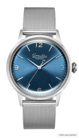 Blue dial, steel case, steel mesh band