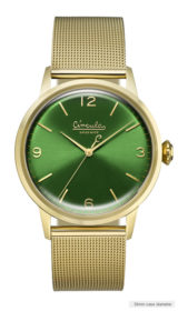 Green dial, gold case, gold mesh band