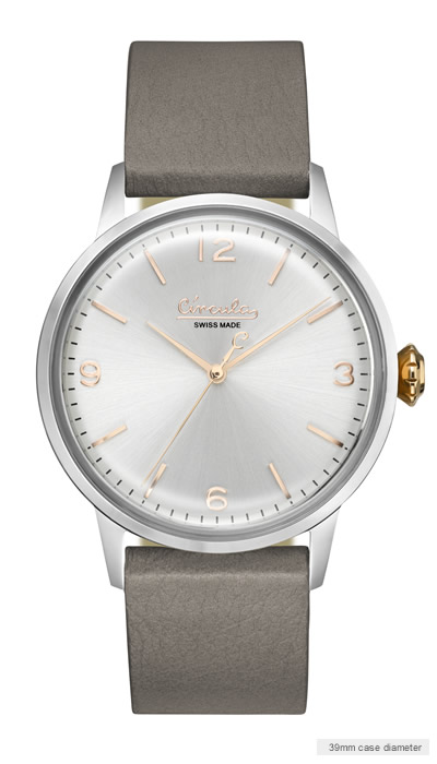 White dial, steel case, grey nappa leather band