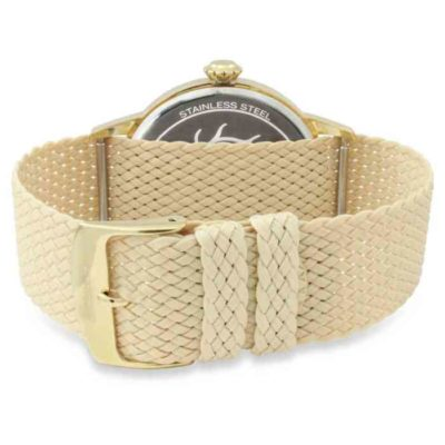 Champagne dial, gold case, textile band