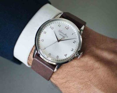 White dial, steel case, taupe nappa leather band