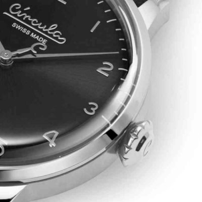 Black dial, steel case, black nappa leather band