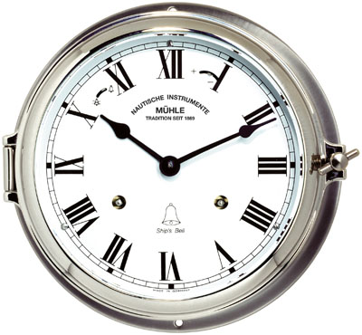 MÜHLE - Ship's Bell Clock Quartz Stainless steel 180mm