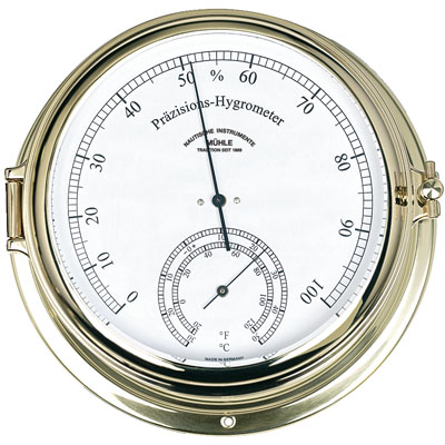 MÜHLE - Hygrometer / Thermometer Quartz Brass or Steel 180 mm