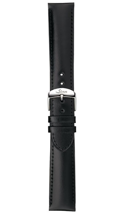 Sinn calf leather strap, black, 18mm