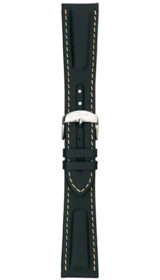 Sinn calf leather strap, black, white stitching, 22mm
