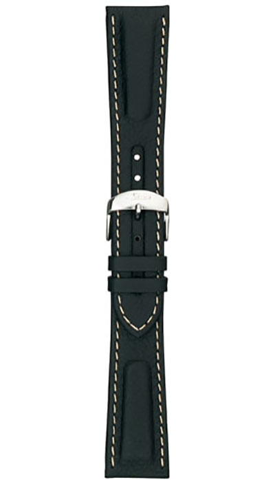 Calf leather strap, black with white stitching, 22mm (917, 956)