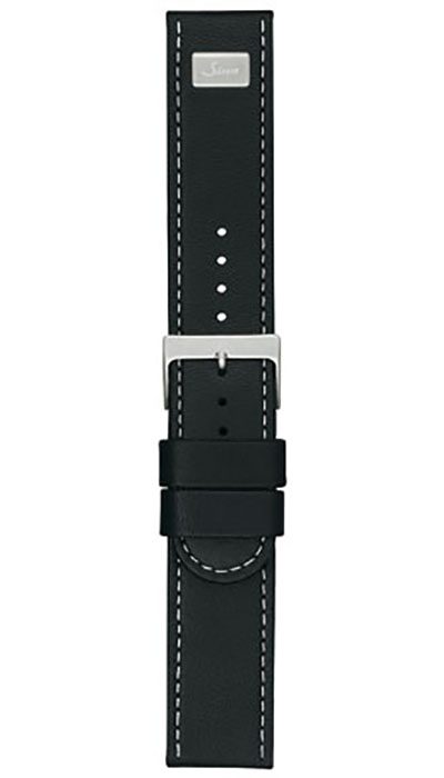 Calf leather strap, straight cut, black with white stitching, extension, 22mm (900)