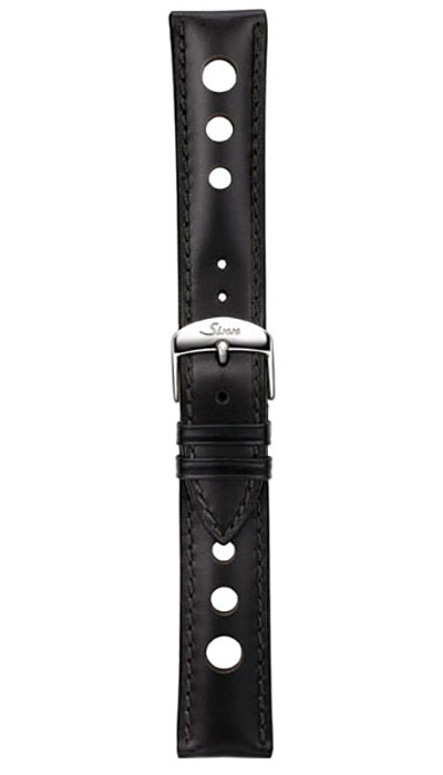 Leather cow hide strap, black, perforated, 20mm