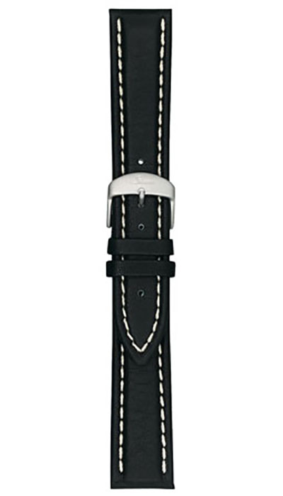 Cow hide strap, black, softened, white stitching, 20,22mm