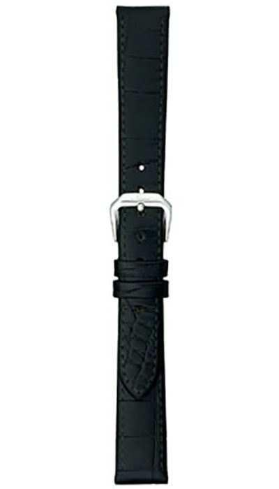 Leather cow hide strap, black, alligator embossing (ladies)