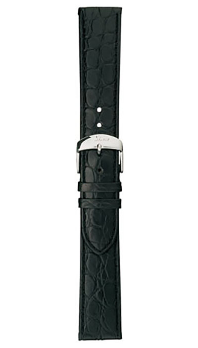 Leather cow hide strap, black, alligator embossing, 20mm