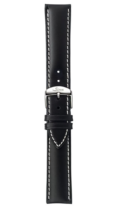 Leather cow hide strap, black, white stitching, 20,22mm