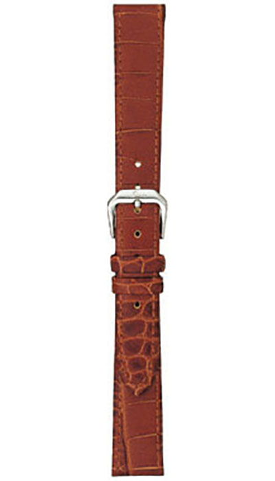Leather cow hide strap, cognac, alligator embossing (ladies)