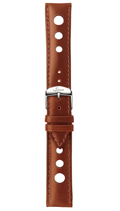 Leather cow hide strap, cognac, perforated, 20mm