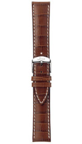 Sinn cow hide strap, cognac, alligator embossing, white stitching, 20mm