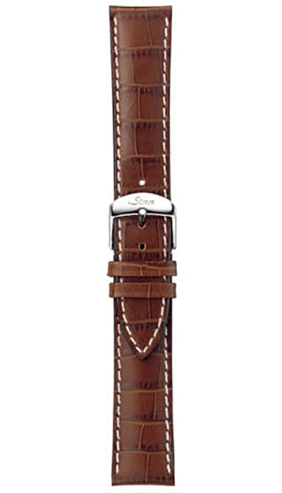 Leather cow hide strap, cognac, alligator embossing, white stitching, 20,22mm