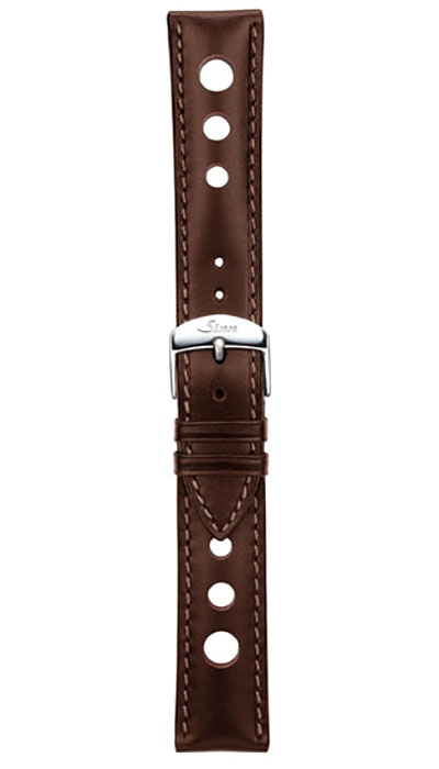 Leather cowhide strap, mocha, perforated, 20mm