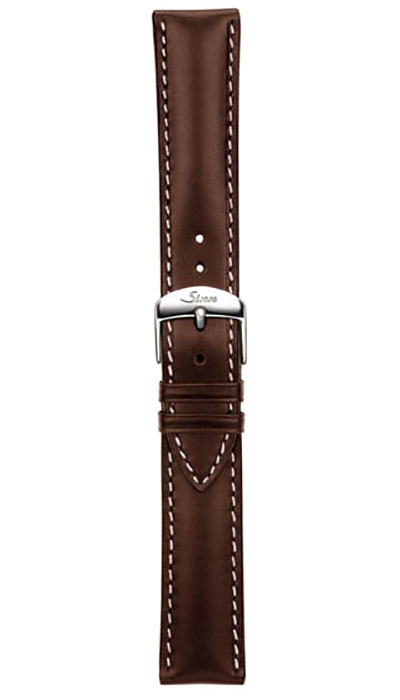 Leather cow hide strap, mocha, white stitching, 20,22mm