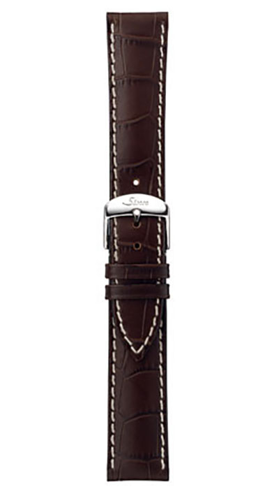 Leather cowhide strap, mocha, alligator embossing, white stitching, 20,22mm