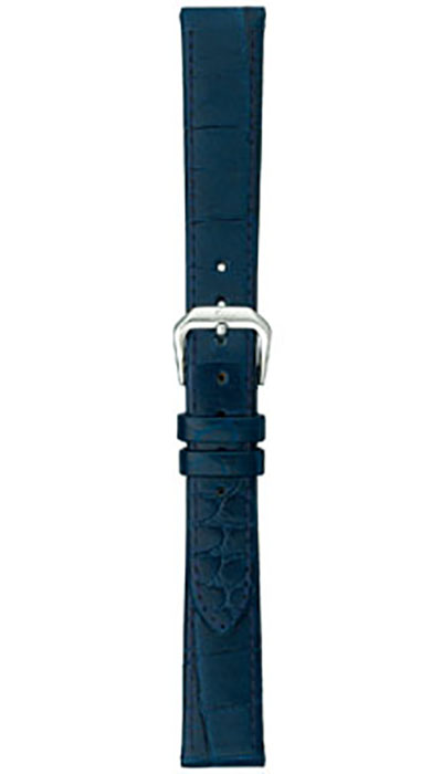 Leather strap, ocean blue cow hide, alligator embossing (ladies)